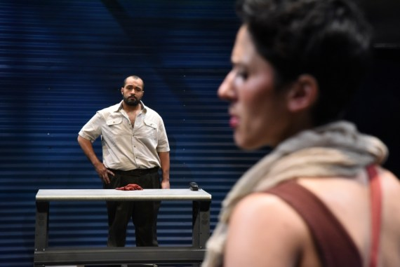 """""""The Return"""" by Hanna Eady and Edward Mast, at Mosaic Theater Company of DC, through July 2. Pictured: Ahmad Kamal and Alyssa Wilmoth Keegan. (Photo by Stan Barouh)"""
