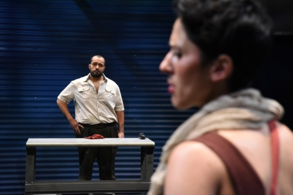 """The Return"" by Hanna Eady and Edward Mast, at Mosaic Theater Company of DC, through July 2. Pictured: Ahmad Kamal and Alyssa Wilmoth Keegan. (Photo by Stan Barouh)"