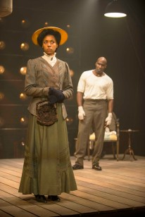 """""""The Royale"""" by Marco Ramirez, at Milwaukee Repertory Theatre in Milwaukee, Wisc., through Nov. 6. Pictured: Sade E. Moore and David St. Louis. (Photo by Michael Brosilow)"""