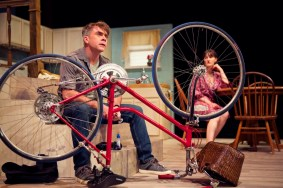 """""""The Village Bike"""" by Penelope Skinner, at Shotgun Players in San Francisco through Jan. 2017. Pictured: Kevin Clarke and Elissa Stebbins. (Photo by Pak Han)"""