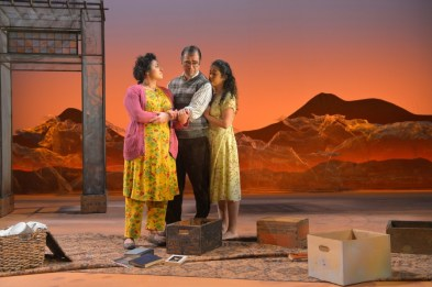"""A Thousand Splendid Suns,"" adapted by Ursula Rani Sarma from Khaled Hosseini, at American Conservatory Theater in San Francisco, in 2017. Pictured: Nadine Malouf, Barzin Akhavan, and Denmo Ibrahim. (Photo by Kevin Berne)"