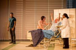"""""""Under the Skin"""" by Michael Hollinger, at Everyman Theatre in Baltimore, through Feb. 21. Pictured: Keith L. Royal Smith, Megan Anderson, Mitchell Hébert, and Alice M. Gatling. (Photo by ClintonBPhotography)"""