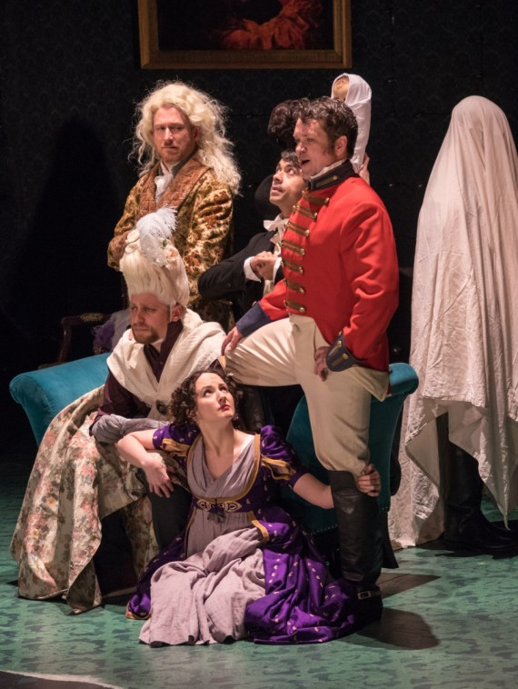 """Vanity Fair"" by Kate Hamill, at the Pearl Theatre Company in New York City, through April 30. (Photo by Russ Rowland)"
