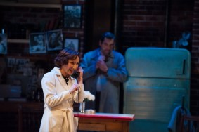 """""""Wait Until Dark"""" adapted by Frederick Knott from Jeffrey Hatcher, at Rep Resident Ensemble Players at the University of Delaware, in Newark, Del., through Feb. 7. Pictured: Deena Burke and Stephen Pelinski. (Photo by Paul Cerro)"""