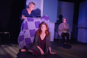 """Waiting for Grace"" by Sharon Sharth, at Odyssey Theatre Ensemble in Los Angeles through Dec. 11. Pictured: Lily Knight, Sharon Sharth, and Pamela Dunlap. (Photo by Ed Krieger)"