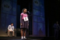 """""""Akeelah and the Bee,"""" adapted by Cheryl L. West from Doug Atchison, at Children's Theatre Company in Minneapolis, through Oct. 11. Pictured: Sean Phinney and Johannah Easley. (Photo by Jeff Wheeler)"""