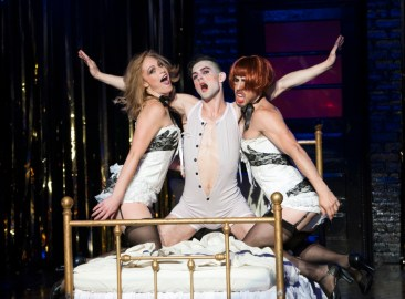 """Cabaret,"" with a book by John Van Druten, adapted from stories by Christopher Isherwood, music by John Kander and lyrics by Fred Ebb, at the Signature Theatre in Arlington, Va., through June 28. Pictured: Colleen Hayes, Wesley Taylor and Mark Chandler. (Photo by Margot Schulman)"