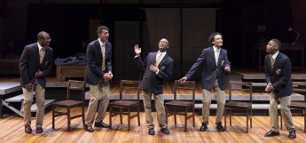 """Choir Boy"" by Tarell Alvin McCraney at the Guthrie Theatre in Minneapolis through July 5. Pictured: Darrick Mosley, Ryan Colbert, John Michael-Lyles, Nathan Barlow and Kory LaQuess Pullam. (Photo by Heidi Bohnenkamp)"