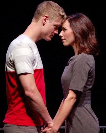 """""""Cock"""" by Mike Bartlett, at the Unicorn Theatre in Kansas City, Mo., through May 17. Pictured: Jacob Aaron Cullum and Molly Denninghoff. (Photo by Cynthia Levin)"""