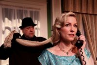 """""""Dial M for Murder"""" by Frederick Knott, at Peninsula Players Theatre in Fish Creek, Wis., through July 26. Pictured: Neil Friedman and Katherine Keberlein. (Photo by Brian Kelsey)"""
