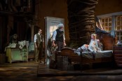 """""""East of Eden,"""" adapted by Frank Galati from John Steinbeck, at Steppenwolf in Chicago through Nov. 15. Pictured: Stephen Park, Tim Hopper, Francis Guinan, and Kate Arrington. (Photo by Michael Brosilow)"""