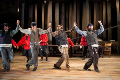 """Fiddler on the Roof"" by Jerry Bock, Sheldon Harnick, and Joseph Stein, at the Berkeley Playhouse in Berkeley, Calif. Pictured: Salim Razawi, Abe Soane, Berwick Haynes, and Michael RJ Campbell."