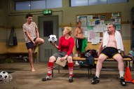 """Jumpers for Goalposts"" by Tom Wells, at Studio Theatre in Washington, D.C., through June 28 Pictured: Liam Forde, Kimberly Gilbert, Zdenko Martin and Michael Glenn. (Photo by Igor Dmitry)"
