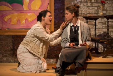 """""""Loving Repeating,"""" adapted by Frank Galati and Stephen Flaherty from Gertrude Stein, a Kokandy Productions production at Theatre Wit in Chicago through Aug. 30. Pictured: Emily Goldberg and Amanda Giles. (Photo by Michael Brosilow)"""