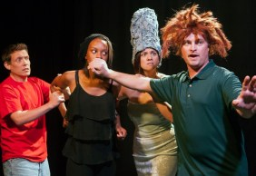 """""""Mr. Burns, a Post-Electric Play"""" by Anne Washburn, at Capital Stage Company in Sacramento, Calif., through Oct. 4. Pictured: Jouni Kirjola, Tiffanie Mack, Katie Rubin, and Kirk Blackinton."""