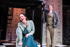 """""""My Fair Lady"""" by Alan Jay Lerner and Frederick Loewe, at Lyric Stage in Boston. Pictured: Jennifer Ellis and Christopher Chew. (Photo by Aram Boghosian)"""