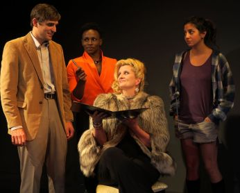 """""""Nobody's Girl"""" by Rick Viede, at New Jersey Repertory in Long Branch, N.J., through Sept. 20. Pictured: Jacob A. Ware, Gregory Haney, Judith Hawking, and Layla Khoshnoudi. (Photo by SuzAnne Barabas)"""
