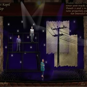 "Rendering for ""Orange"" at South Coast Repertory by set designer Michael B. Raiford."