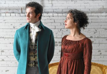 """Pride and Prejudice,"" adapted by Christopher Baker from Jane Austen, at Center Stage in Baltimore through Oct. 11. Pictured: A.J. Shively and Kate Abbruzzese. (Photo by Kenneth K. Lam / Baltimore Sun)"