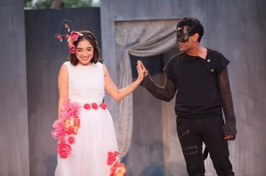 """""""Romeo and Juliet"""" by William Shakespeare, an Independent Shakespeare Company production in Griffith Park in Los Angeles through July 26. Pictured: Erika Soto and Nikhil Pai. (Photo by Grettel Cortes)"""