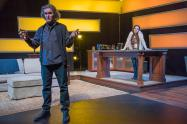 """""""Scenes From an Adultery"""" by Ronan Noone, at New Repertory Theatre in Watertown, Mass., through May 17. Pictured: Ciaran Crawford and Leda Uberbacher. (Photo by Andrew Brilliant)"""