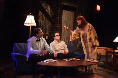 """""""Side Man"""" by Warren Leight, at American Blues Theater in Chicago through May 24. Pictured: Michael Ehlers, Michael Mahler and Kate Buddeke. (Photo by Johnny Knight)"""