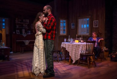 """""""The Birds"""" by Conor McPherson, adapted from Daphne du Maurier, at the Griffin Theatre in Chicago through June 19. Pictured: Emily Nichelson, Keith Neagle and Jodi Kingsley. (Photo by Michael Brosilow)"""