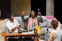 """""""The Call"""" by Tanya Barfield, a Theatre J production at Atlas Performing Arts Center in Washington, D.C., through May 31. Pictured: Kelly Renee Armstrong, Joy Jones and Tessa Klein. (Photo by Stan Barouh)"""