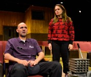 """""""The Flick"""" by Annie Baker, at Gloucester Stage in Gloucester, Mass., through Sept. 12. Pictured: Nael Nacer and Melissa Jesser. (Photo by Gary Ng)"""