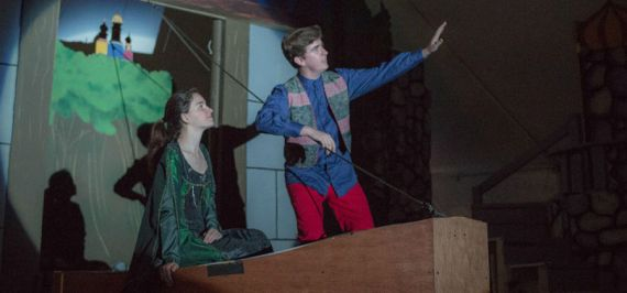 """""""The Fool of the World and the Flying Ship"""" by Stephen Russell, at Wellfleet Harbor Actors Theatre in Wellfleet, Mass., through Aug. 27. Pictured: Melanie Clarke and Ian Hamilton. (Photo by Michelina Risbeck)"""