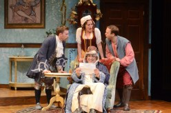 """""""The Heir Apparent"""" by David Ives, at International City Theatre in Long Beach, Calif., through July 12. Pictured: Wallace Angus Bruce, Paige Lindsey White, Adam J. Smith, and Matthew Henerson. (Photo by Suzanne Mapes)"""