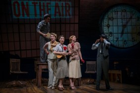 """Shining Lives,"" with book and lyrics by Jessica Thebus, music by Andre Pluess and Amanda Dehnert and based on the novel by Melanie Marnich, at the Northlight Theatre in Skokie, Ill., through June 14. Pictured: Matt Mueller, Bri Sudia, Tiffany Topol, Jess Godwin and Erik Hellman. (Photo by Michael Brosilow)"