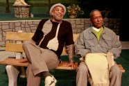 """""""Two Black Guys Just Sitting Around Talking"""" by Gus Edwards, at the Ensemble Theatre in Houston through May 31. Pictured: Alex Morris and Byron Jacquet. (Photo by Gary Fountain)"""