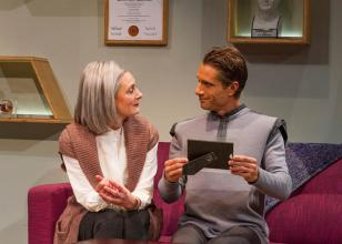 """""""Uncanny Valley"""" by Thomas Gibbons, at San Diego Repertory Theatre through May 10. Pictured: Rosina Reynolds and Nick Cagle. (Photo by Daren Scott)"""