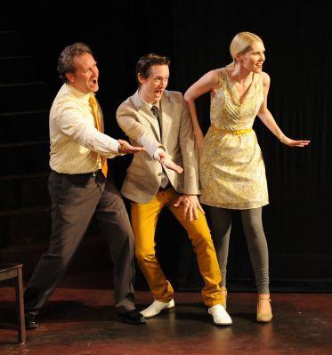 """Sondheim UnScripted,"" adapted from Stephen Sondheim by Impro Theatre, at Impro Theatre in Burbank, Calif., through Sept. 27. Pictured: Brian Lohmann, Brian Michael Jones, and Lauren Rose Lewis."