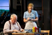 """""""Waitress,"""" adapted from Adrienne Shelly by Jessie Nelson and Sara Bareilles, at American Repertory Theater in Boston through Sept. 27. Pictured: Dakin Matthews and Jessie Mueller. (Photo by Evgenia Eliseeva)"""