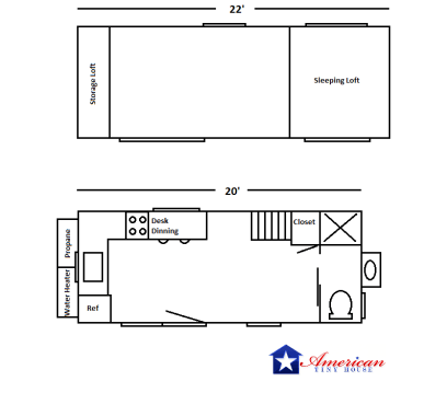 20' Houston Floor Plan American Tiny House