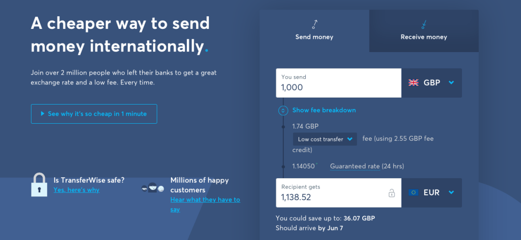 Transferwise First Transfer Free