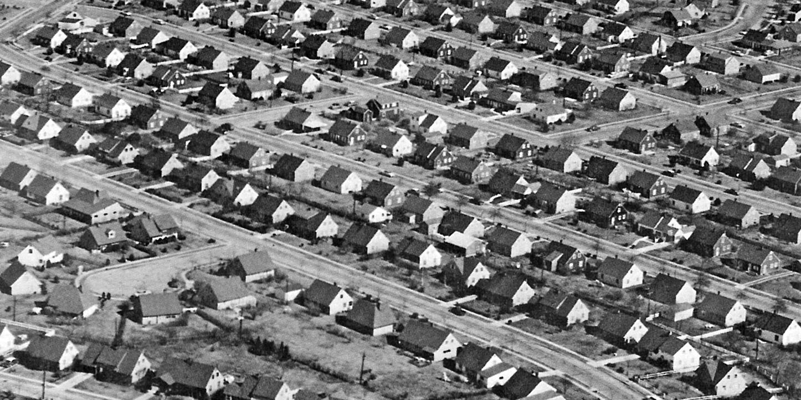 hight resolution of photograph of lines of identical looking houses in even rows