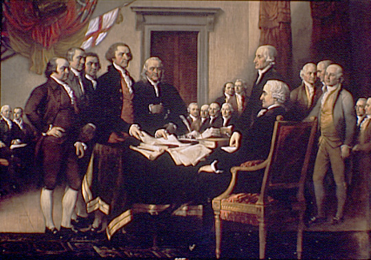 Detail, John Trumbull's Signing of the Declaration of Independence - Theodor Horydczak photo, Library of Congress