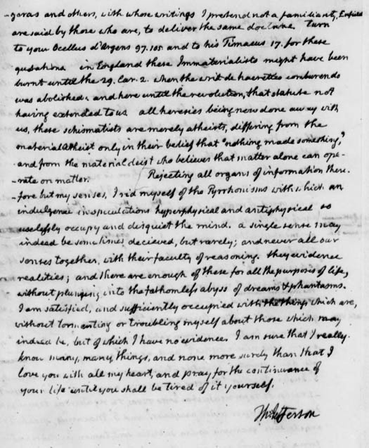 Letter from Thomas Jefferson to John Adams, August 15th, 1820 - Library of Congress image