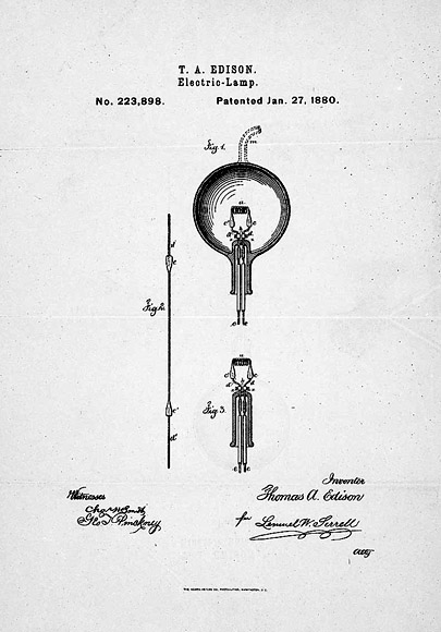 Patent drawing for Thomas Edison's successful electric lamp.  Library of Congress