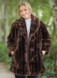 Shawl Collar Faux Fur Coat | AmeriMark