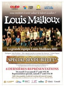 Affiche du spectacle « Louis Mailloux – Le spectacle musical », présenté à Caraquet en 2011