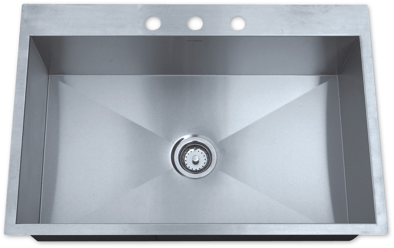 stainless steel kitchen sinks 33 x 22 4 hole faucet as325 quot 10 16g single bowl topmount legend