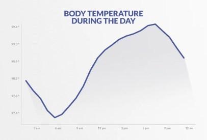 日中の体温。