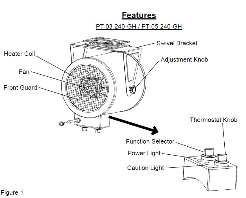 ProTemp PT-05-240-GH 5,000W/ 17,000 BTU Electric Garage Heater