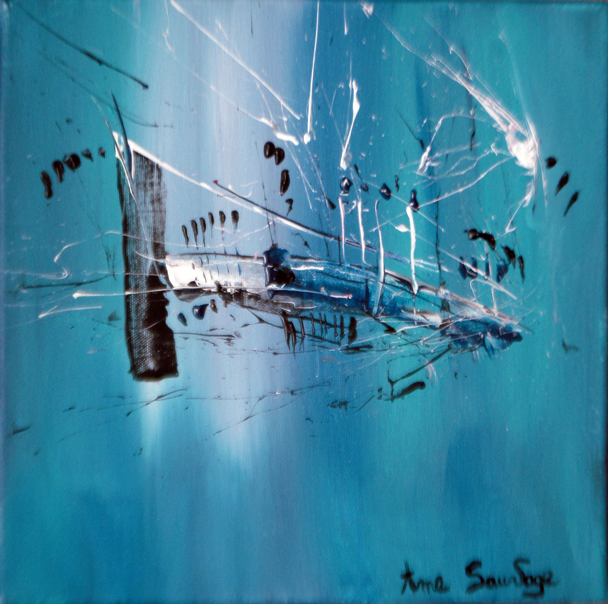 Peinture abstraite moderne design bleu turquoise  Artiste peintre Ame Sauvage
