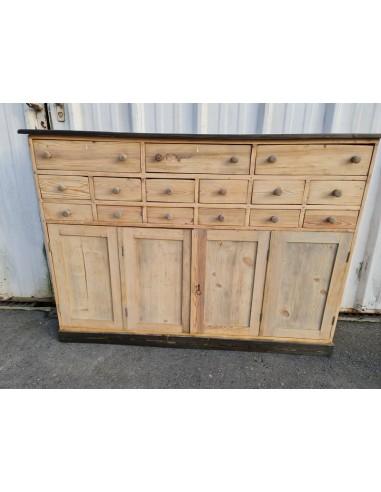 meuble d atelier quinze tiroirs et deux portes double bois brut plateau noir