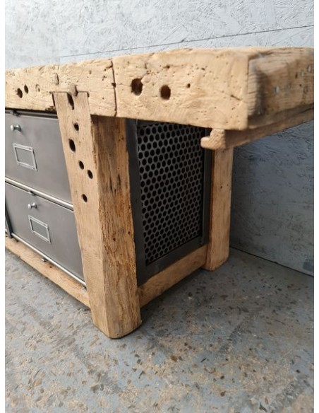 ancien etabli meuble bas tv industriel vintage chene et metal